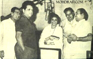 Mohd Rafi with Suman Kalyanpur, Hasrat Jaipuri, Jaikishan and Minoo Kartik during a song recording