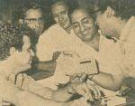 Mohd Rafi with Shammi Kapoor, Hasrat, Jaikishan