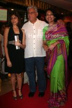 Om Puri with Mallika Sarabhai and Jayabrato Chaterjee at the premiere of film Love Songs in Metro Adlabs on March 26th 2008(2).jpg