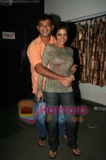 Mandira Bedi with husband Raj Kaushal at the play Anything But Love in St Andrews on June 22nd 2008(22).jpg