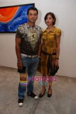 Manoj Bajpai with wife Neha at Prakash Bal Joshi art exhibition in Kitab Mahal on 22nd December 2008 (4).JPG