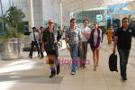 Hrithik Roshan, Barbara Mori, Rakesh Roshan arrive after Kites promotion in Kolkata in Domestic Airport, Mumbai on 24th May 2010.JPG