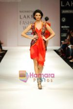 Model walks the ramp for Nachiket Barve Show at Lakme Winter fashion week day 3 on 19th Sept 2010.JPG