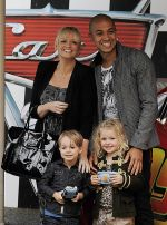 Emma Bunton and Jade Jones with kids at Cars 2 UK Premiere Pre-Party Celebration - Arrivals in Whitehall Gardens on July 17th 2011.jpg