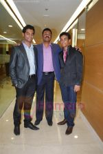 pratap sarnaik with vihang sarnaik and purvaish sarnaik at Pratap Sarnaik birthday party in Mumbai on 28th July 2011.JPG