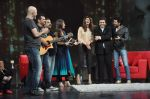 Deepika Padukone, Ritesh Deshmukh, Karan Johar, Raveena Tandon, Shankar Ehsaan Loy on the sets of NDTV show with Raveena in Yashraj on 7th March 2012 (120).JPG