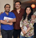 Kunal Ganjawala and Gayatri Joshi with Partner Bishwadeep Chatterjee at the Opening of a boutique sound studio, Orbis on 19th May 2012.jpg