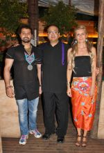 Mudasir Ali, Viveck Vaswani and Victoria Polyakova at the launch announcement of 5F Films KARBALA directed by Kailm Sheikh in Mumbai on 13th June 2012.jpg