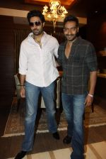 Abhishek  Bachchan, Ajay Devgan at Bol Bacchan promotions in Andheri, Mumbai on 23rd June 2012 (1).JPG