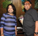Kailash Kher with PRO Harish Sharma at Kailash Kher_s Birthday Party in Masala Mantar, Mumbai on 9th July 2012.JPG