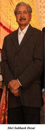 Shri Subhash Desai at The wedding reception of Gayatri and Arjun Hitkari hosted by Debbie and Arun Hitkari in Taj, Colaba, Mumbai on 20th Jan 2013.jpg