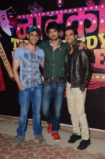 Sushant Singh Rajput, Raj Kumar Yadav and Amit Sadh at the promotions of Kai Po Che on the sets of Nautanki - The Comedy Theatre in Mumbai on 14th Feb 2013 (6).JPG