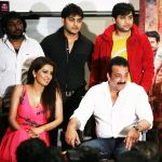 geeta basra  shabbir amjad nadeem sanjay dutt at the first look of film Zila Ghaziabad on 13th Feb 2013.jpg