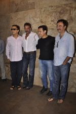 Sanjay Dutt, Aamir Khan, Rajkumar Hirani, Vidhu Vinod Chopra  at PK Screening in Mumbai on 25th Dec 2014 (9)_549d40fa28077.JPG
