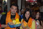 Mahaakshay Chakraborty, Evelyn Sharma Seeks Bappa_s Blessings for Ishqedarriyaan in Siddhivinayak temple, Mumbai on 31st March 2015 (27)_551b93d512d86.jpg