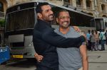 John Abraham, Nana Patekar at Welcome Back song shoot in Aarey Milk Colony on 13th July 2015