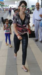 Urvashi Rautela Spotted at Mumbai Airport leaving for Bangalore to attend Music Launch of her South Movie Airavata on 16th Aug 2015