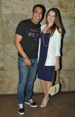 Vindu Dara Singh with wife Dina at the screening of Hollywood movie Transporter Refuelled hosted by Joe Rajan at Light Box Theatre.1