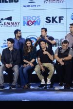 Salman Khan, Athiya Shetty, Sooraj Pancholi,Amaal Mallik, Nikhil Advani, Subhash Ghai, Palak Muchchal, Bhushan Kumar at Hero music launch in Taj Lands End on 6th Sept 2015 (74