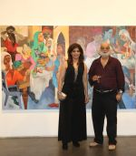 Bina Aziz and eminent Artist Gurucharan Singh inaugurated Song of Life unique Art Exhibition by eminent Artist Gurucharan Singh Other guest including Eminent Artist Brinda on 16th Oct 2015_562381e58925c.JPG
