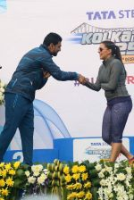 Neha Dhupia and Yuvraj Singh in Kolkatta for a marathon on 22nd Dec 2015