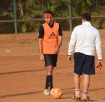 Ranbir Kapoor snapped at soccer practise on 10th Jan 2016