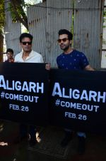 Manoj Bajpai,Rajkummar Rao at Aligarh promotions at Juhu circle on 23rd Feb 2016