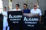 Manoj Bajpai,Rajkummar Rao, Hansal Mehta, Neha at Aligarh promotions at Juhu circle on 23rd Feb 2016
