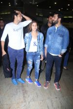 Alia Bhatt, Sidharth Malhotra and Fawad Khan promote Kapoor N Sons after they return from Bangalore on 12th March 2016