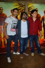 Varun Dhawan, Sajid Nadiadwala , Pritam Chakraborty at song launch from movie Dishoom in Mumbai on 16th June 2016