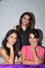 Marathi film actor Smita Gondkar and Television actor Shweta Khanduri poses with makeup artist Pinky Asnani during the monsoon make-up at PAMs salon, in Mumbai, India on June 24, 2016