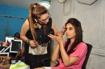 Marathi film actor Smita Gondkar with makeup artist Pinky Asnani during the monsoon make-up at PAMs salon, in Mumbai, India on June 24, 2016