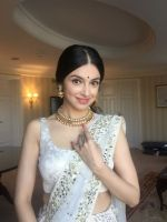 Divya Khosla  Spotted wearing a gorgeous cream lehenga by ace designer Vikram Phadnis and Jewellery by Shobha Shringar  (3)_5770a16faef0e.JPG