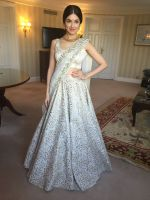 Divya Khosla  Spotted wearing a gorgeous cream lehenga by ace designer Vikram Phadnis and Jewellery by Shobha Shringar  (9)_5770a189104a2.JPG