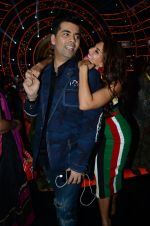 Jacqueline Fernandez and Karan Johar during the promotion of film A Flying Jatt on the sets of reality dance show Jhalak Dikhhla Jaa season 9 in Mumbai, India on A