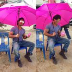 Vidyut Jammwal with a pink fan and umbrella on the sets of Commando 2 clicked by his Co star Adah sharma  (1)_57af664897dda.jpg