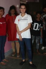 Dia Mirza, Ambassador of Save the Children at the Felicitation of Child Champions from the streets of Mumbai and an Aadhaar Camp to provide an identity to TheInvisibles in Gilder Lane Municipal School on 4th July 2018 (13