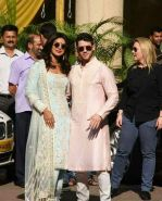 Priyanka Chopra and Nick Jonas posing for media after finishing their wedding puja at her Versova House on 28th Nov 2018