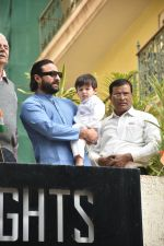 Saif Ali Khan & Taimur during the flag hoisting ceremony at thier society in bandra on 26th Jan 2019
