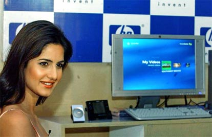 Katrina Kaif poses for a picture at a launch for Hewlett-Packard's Pavilion PC's