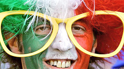 Italian fan is pictured prior the World Cup 2006 group E football