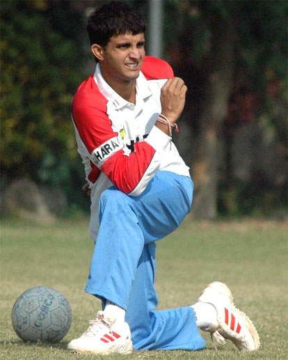 Sourav Ganguly at a practice session