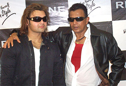 Mithun Chakraborty with son Mimoh at a promotional event