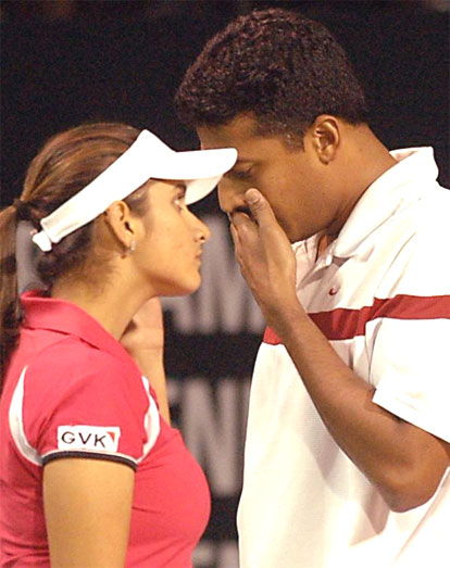 Sania Mirza and Mahesh Bhupati during an exhibition match in ABN AMRO Tennis Challenge