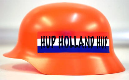 orange helmet created for Dutch soccer fans