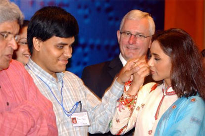 Rani Mukherjee converses in sign language with deaf,blind student Pratap