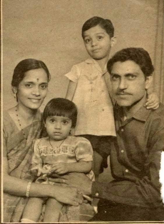 Amrish with wife Urmila son Rajeev and daughter Namrata ...
