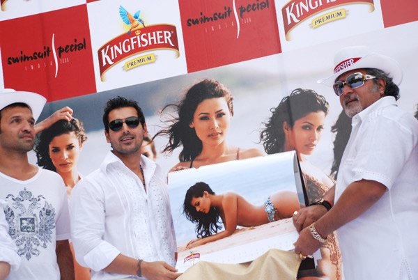 John Abraham, Vijay Mallya at unveiling of Kingfisher Swimsuit Special 2008