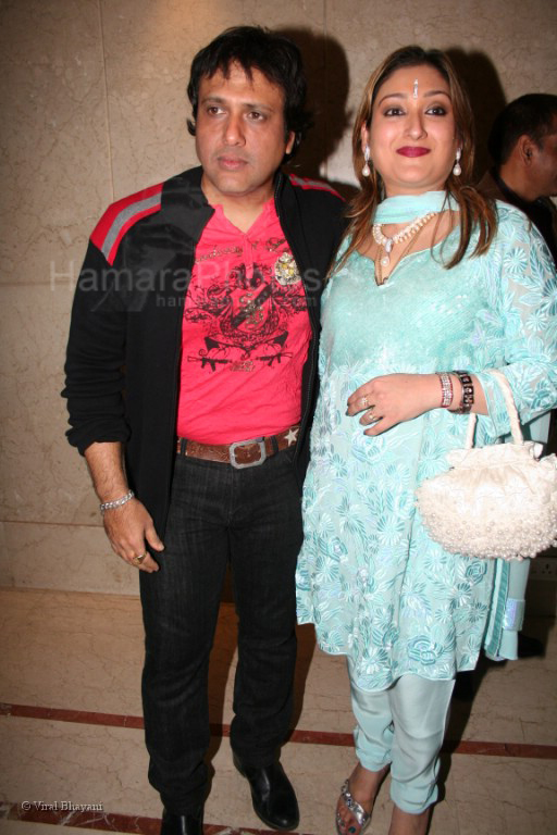 Govinda with wife Sunita Ahuja at Vashu Bhagnani's star ...