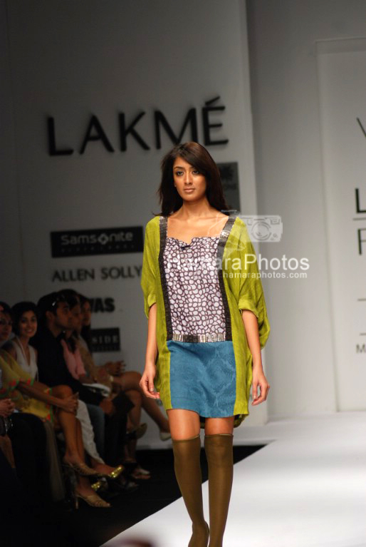 Model walks on the ramp for  Vineet Bahl at Lakme India Fashion Week on April 1st 2008